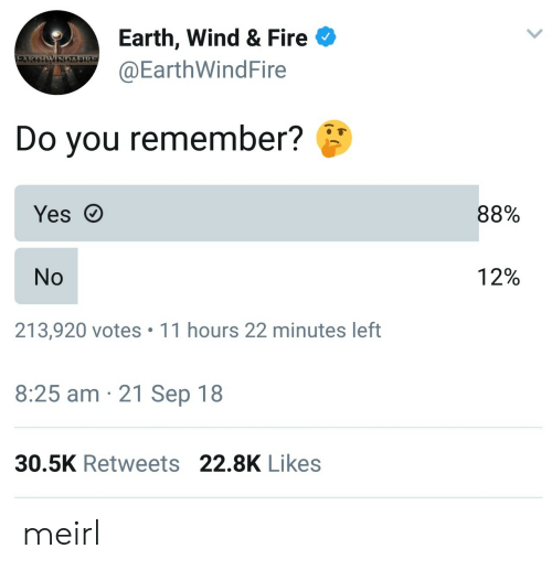 sire: Earth, Wind & Fire  @EarthWindFire  WIND&SIRE  Do you remember?  88%  Yes  12%  No  213,920 votes 11 hours 22 minutes left  8:25 am 21 Sep 18  30.5K Retweets 22.8K Likes meirl