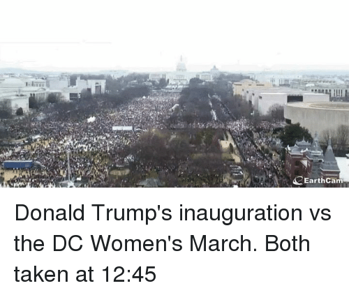 Donald Trump Inauguration: EarthCam Donald Trump's inauguration vs the DC Women's March. Both taken at 12:45