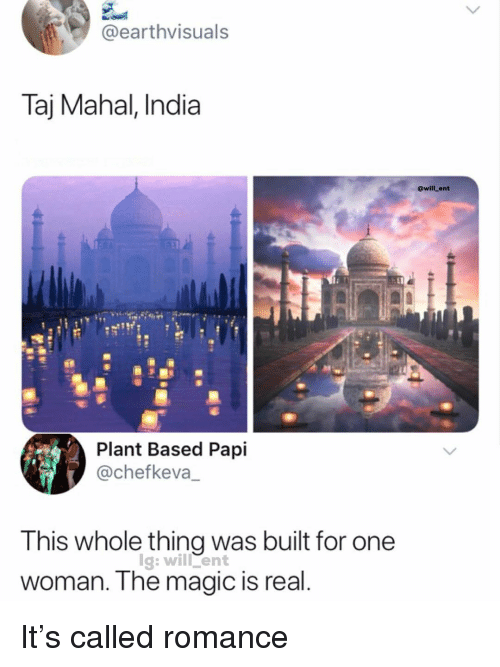mahal: @earthvisuals  Taj Mahal, India  @will_ent  Plant Based Papi  @chefkeva_  This whole thing was built for one  woman. The magic is real  lg: will ent It's called romance