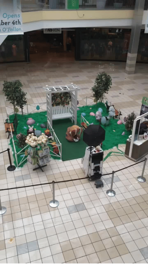 Funny and Sad: Easter Bunny at the mall is sad because he has no visitors.