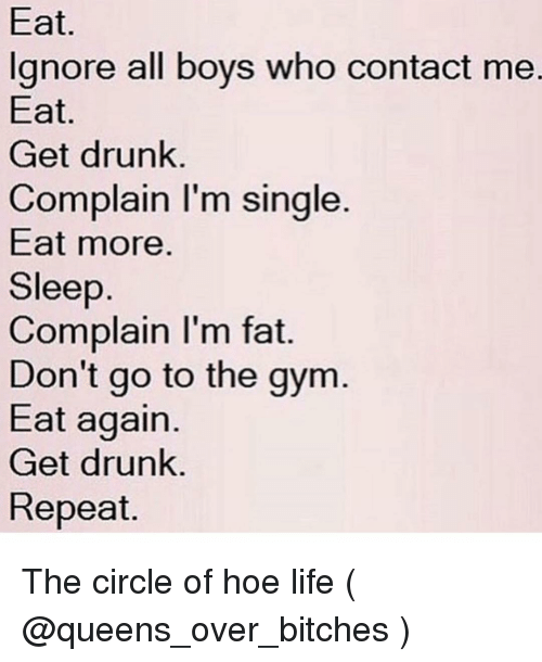 Im Fat: Eat.  lgnore all boys who contact me.  Eat  Get drunk.  Complain I'm single.  Eat more.  Sleep  Complain I'm fat.  Don't go to the gym  Eat again.  Get drunk.  Repeat. The circle of hoe life ( @queens_over_bitches )