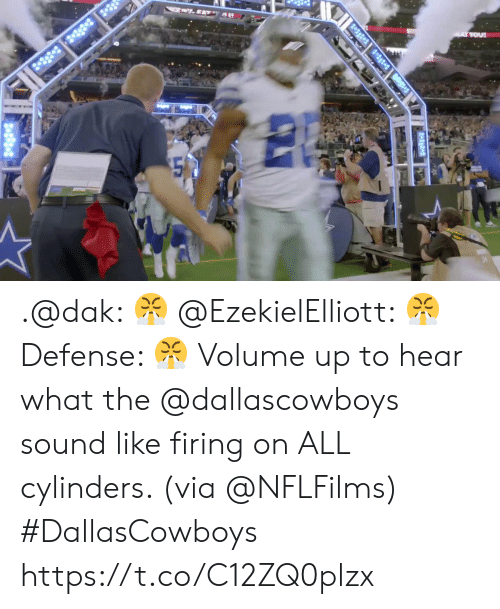 Firing: ..EATY A  2-38 3 8  A YOU .@dak: 😤 @EzekielElliott: 😤 Defense: 😤  Volume up to hear what the @dallascowboys sound like firing on ALL cylinders. (via @NFLFilms) #DallasCowboys https://t.co/C12ZQ0plzx