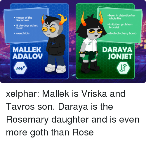 imitation: ebeen in detention her  . master of the  whole life  blockchairn  . 13 piercings at last  imitation grubhorm  bracelet  count  . sweet kicks  ch-ch-ch-cherry bomb  MALLEK  ADALO  DARAYA  JONJET  AM xelphar:  Mallek is Vriska and Tavros son. Daraya is the Rosemary daughter and is even more goth than Rose