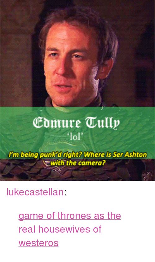 """Game of Thrones: Ebmure Tully  lol'  I'm being punk 'd right? Where is Ser Ashton  with the camera? <p><a class=""""tumblr_blog"""" href=""""http://lukecastellan.tumblr.com/post/49829863789"""">lukecastellan</a>:</p> <blockquote> <p><a href=""""http://brienneoftarth.tumblr.com/tagged/realgot"""">game of thrones as the real housewives of westeros</a></p> </blockquote>"""