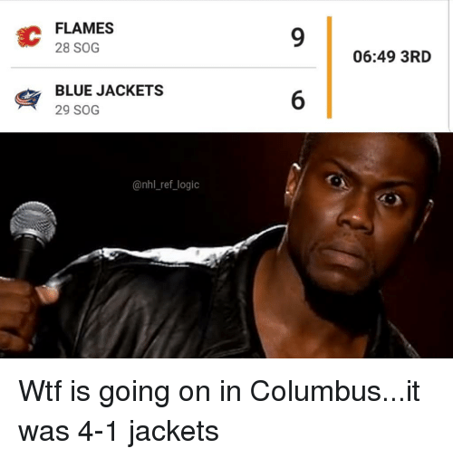 Wtf Is Going On: EC  FLAMES  28 SOG  06:49 3RD  BLUE JACKETS  29 SOG  @nhl_ref logio Wtf is going on in Columbus...it was 4-1 jackets