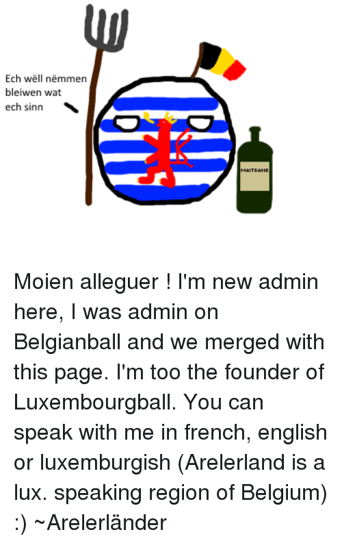 Luxembourgball: Ech Wel  nemmen  bleiwen wat  ech sinn Moien alleguer ! I'm new admin here, I was admin on Belgianball and we merged with this page. I'm too the founder of Luxembourgball. You can speak with me in french, english or luxemburgish (Arelerland is a lux. speaking region of Belgium) :) ~Arelerländer