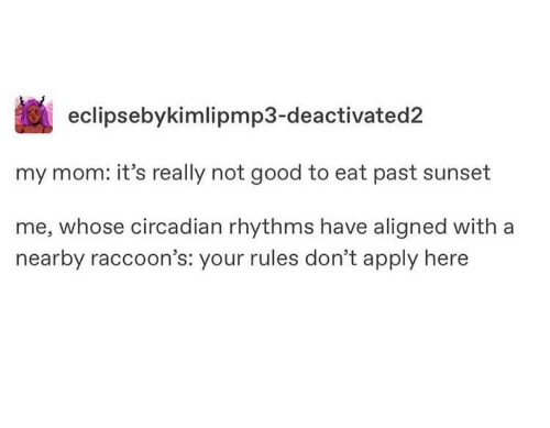 raccoons: eclipsebykimlipmp3-deactivated2  my mom: it's really not good to eat past sunset  me, whose circadian rhythms have aligned with a  nearby raccoon's: your rules don't apply here