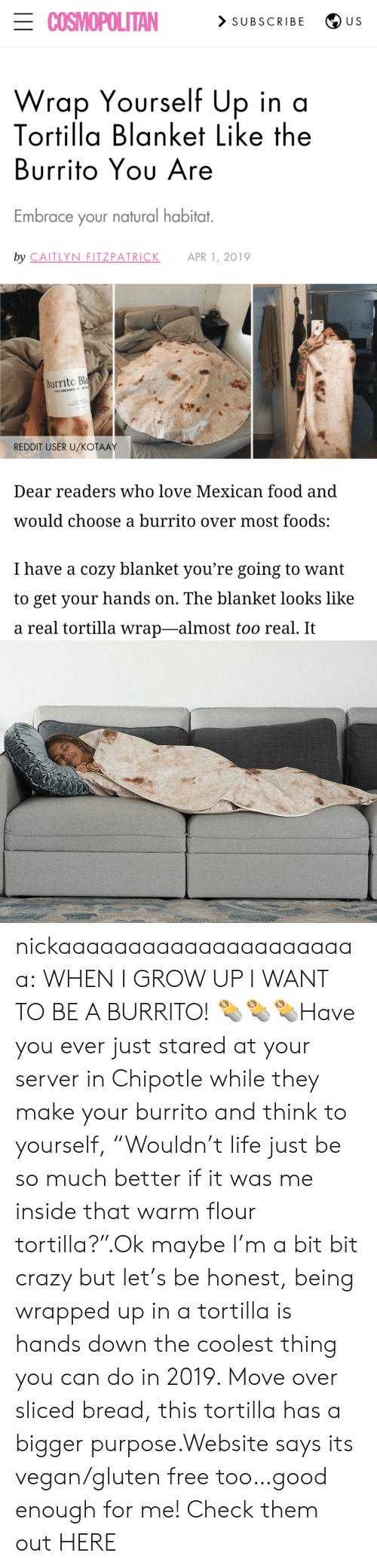 "tortilla: ECOSMOPOLITAN  > SUBSCRIBE  U S  Wrap Yourself Up in a  Tortilla Blanket Like the  Burrito Yου Are  Embrace your natural habitat.  by CAITLYN FITZPATRICK  APR 1, 2019  Burrito Bla  100% MICROFE  REDDIT USER U/KOŤAAY  Dear readers who love Mexican food and  would choose a burrito over most foods:  I have a cozy blanket you're going to want  to get your hands on. The blanket looks like  a real tortilla wrap-almost too real. It nickaaaaaaaaaaaaaaaaaaaaaa:  WHEN I GROW UP I WANT TO BE A BURRITO! 🌯🌯🌯Have you ever just stared at your server in Chipotle while they make your burrito and think to yourself, ""Wouldn't life just be so much better if it was me inside that warm flour tortilla?"".Ok maybe I'm a bit bit crazy but let's be honest, being wrapped up in a tortilla is hands down the coolest thing you can do in 2019. Move over sliced bread, this tortilla has a bigger purpose.Website says its vegan/gluten free too…good enough for me! Check them out HERE"