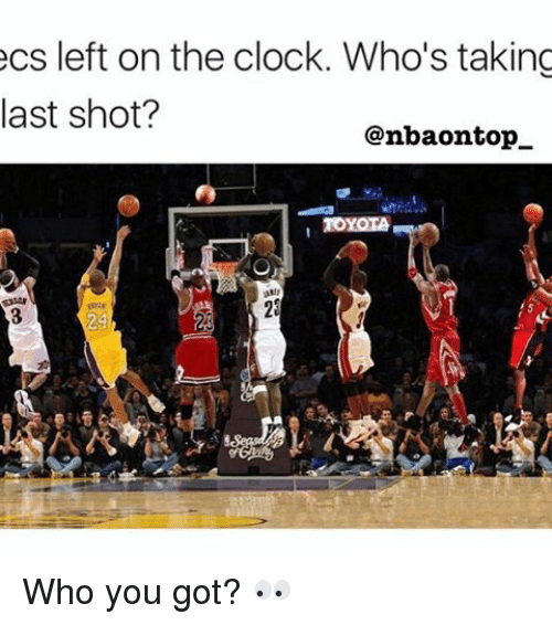 Clock, Memes, and 🤖: ecs left on the clock. Who's taking  last shot?  @nbaontop  TOYOLA Who you got? 👀