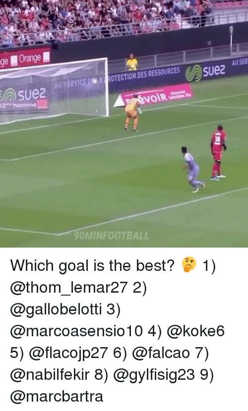 Memes, Best, and Goal: ECTION DES RESSOURCES  U SE  AU SERVICE!  9OMINFOOTBALL Which goal is the best? 🤔 1) @thom_lemar27 2) @gallobelotti 3) @marcoasensio10 4) @koke6 5) @flacojp27 6) @falcao 7) @nabilfekir 8) @gylfisig23 9) @marcbartra