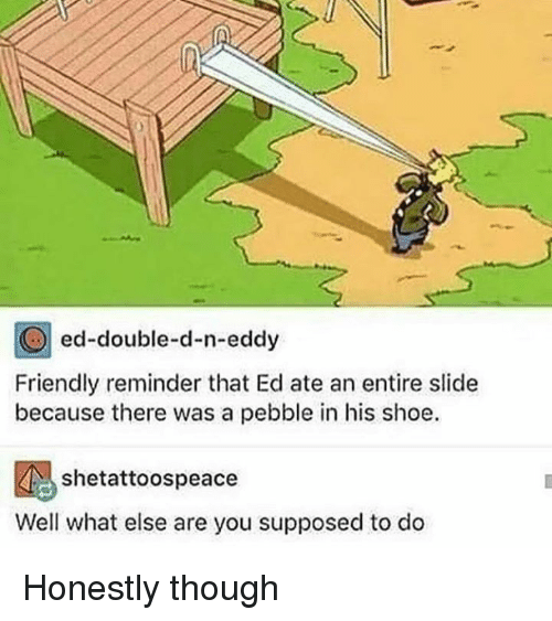 N Eddy: ed-double-d-n-eddy  Friendly reminder that Ed ate an entire slide  because there was a pebble in his shoe.  shetattoospeace  Well what else are you supposed to do Honestly though