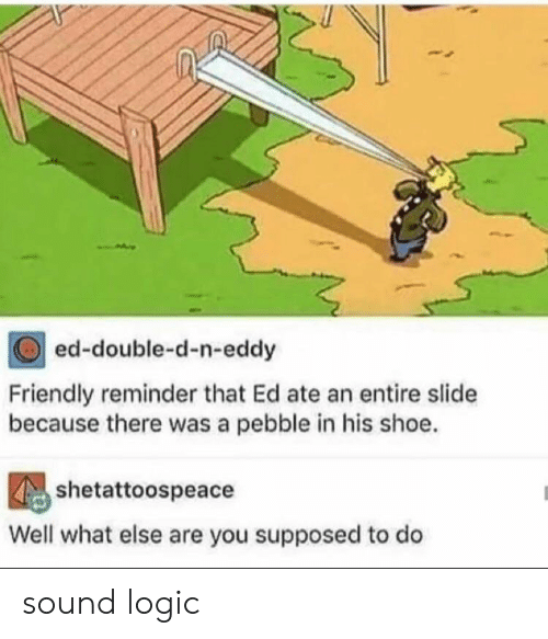 N Eddy: ed-double-d-n-eddy  Friendly reminder that Ed ate an entire slide  because there was a pebble in his shoe.  shetattoospeace  Well what else are you supposed to do sound logic