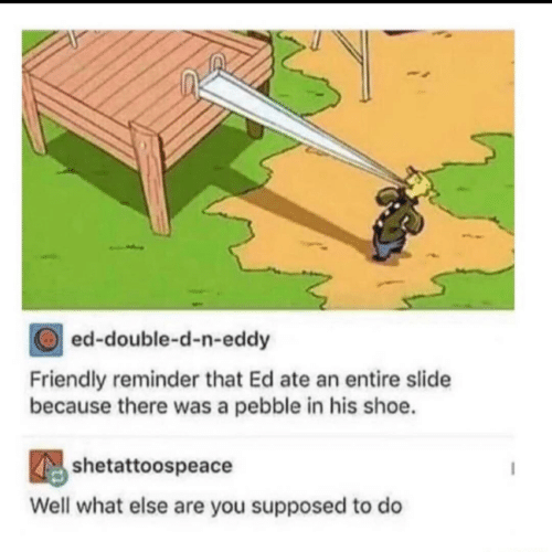Eddy: ed-double-d-n-eddy  Friendly reminder that Ed ate an entire slide  because there was a pebble in his shoe.  shetattoospeace  Well what else are you supposed to do