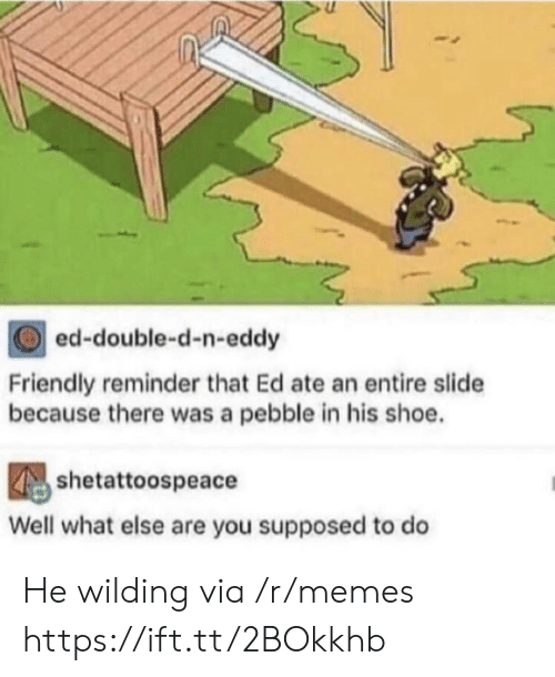 shoe: ed-double-d-n-eddy  Friendly reminder that Ed ate an entire slide  because there was a pebble in his shoe.  shetattoospeace  Well what else are you supposed to do He wilding via /r/memes https://ift.tt/2BOkkhb