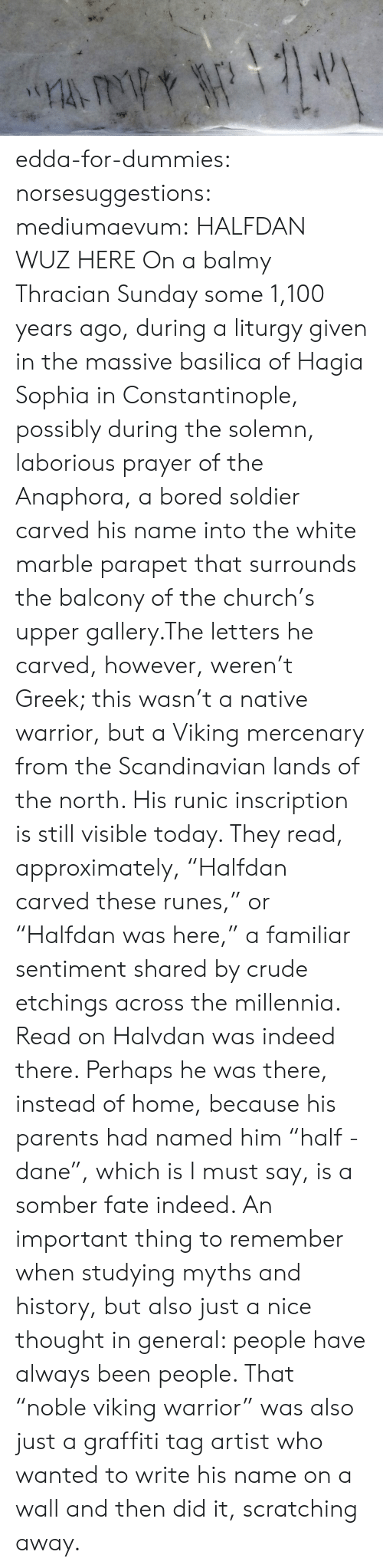 """i must say: edda-for-dummies: norsesuggestions:  mediumaevum:  HALFDAN WUZ HERE On a balmy Thracian Sunday some 1,100 years ago, during a liturgy given in the massive basilica of Hagia Sophia in Constantinople, possibly during the solemn, laborious prayer of the Anaphora, a bored soldier carved his name into the white marble parapet that surrounds the balcony of the church's upper gallery.The letters he carved, however, weren't Greek; this wasn't a native warrior, but a Viking mercenary from the Scandinavian lands of the north. His runic inscription is still visible today. They read, approximately, """"Halfdan carved these runes,"""" or """"Halfdan was here,"""" a familiar sentiment shared by crude etchings across the millennia. Read on  Halvdan was indeed there. Perhaps he was there, instead of home, because his parents had named him """"half - dane"""", which is I must say, is a somber fate indeed.   An important thing to remember when studying myths and history, but also just a nice thought in general: people have always been people. That """"noble viking warrior"""" was also just a graffiti tag artist who wanted to write his name on a wall and then did it, scratching away."""