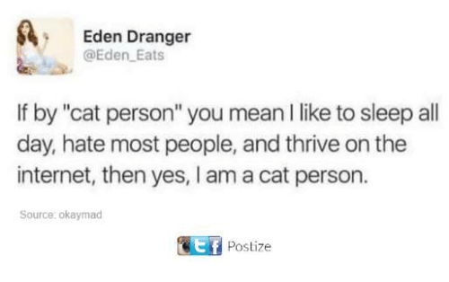 """Funny, Internet, and Tumblr: Eden Dranger  @Eden Eats  If by """"cat person"""" you mean I like to sleep all  day, hate most people, and thrive on the  internet, then yes, I am a cat person.  Source: okaymad  ef  Postize"""