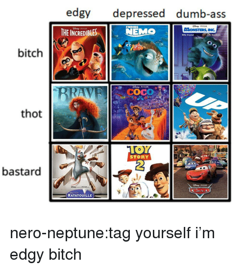 Nero: edgy depressed dumb-ass  THE INCREDIBLESEMO  FINDING  PIXAR  Bilty Crystal  bitch  COCO  thot  STORY  2  bastard  PIXAR  RATATOUILLE nero-neptune:tag yourself i'm edgy bitch