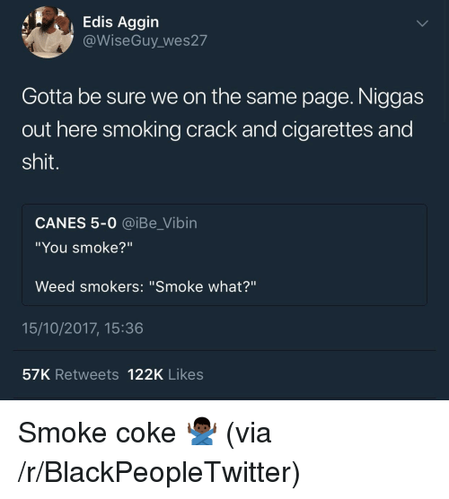 "on the same page: Edis Aggin  @WiseGuy wes27  Gotta be sure we on the same page. Niggas  out here smoking crack and cigarettes and  shit.  CANES 5-0 @iBe_Vibin  ""You smoke?""  Weed smokers: ""Smoke what?""  15/10/2017, 15:36  57K Retweets 122K Likes <p>Smoke coke 🙅🏿‍♂️ (via /r/BlackPeopleTwitter)</p>"