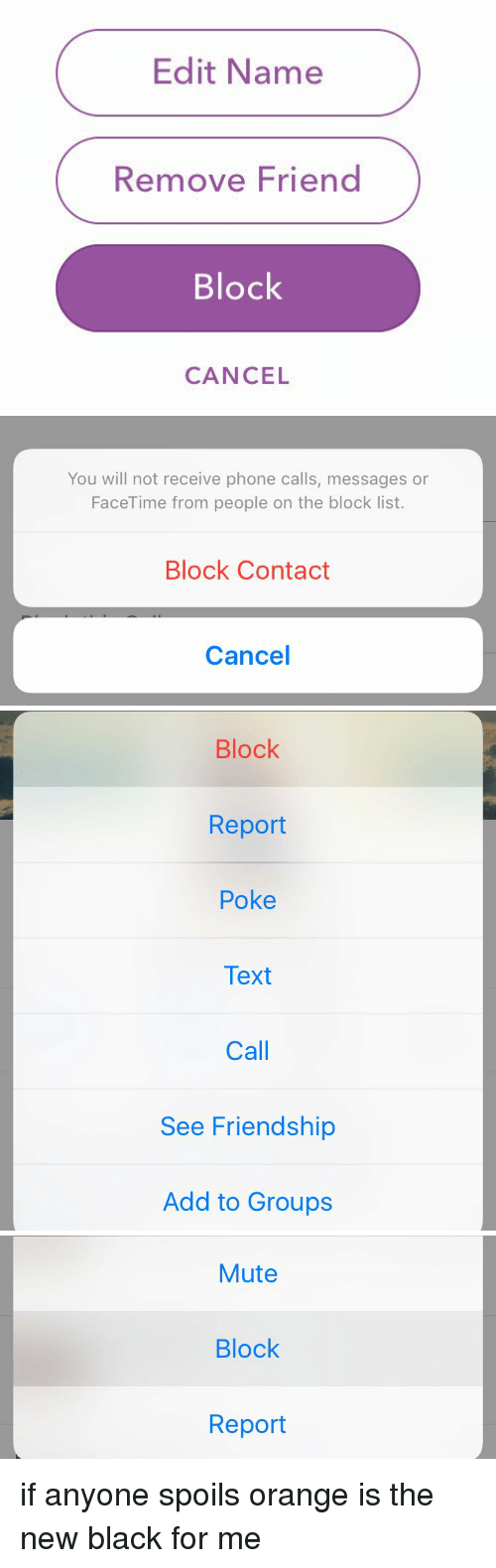 Facetime Friends And Phone Edit Name Remove Friend Block Cancel You Will Not