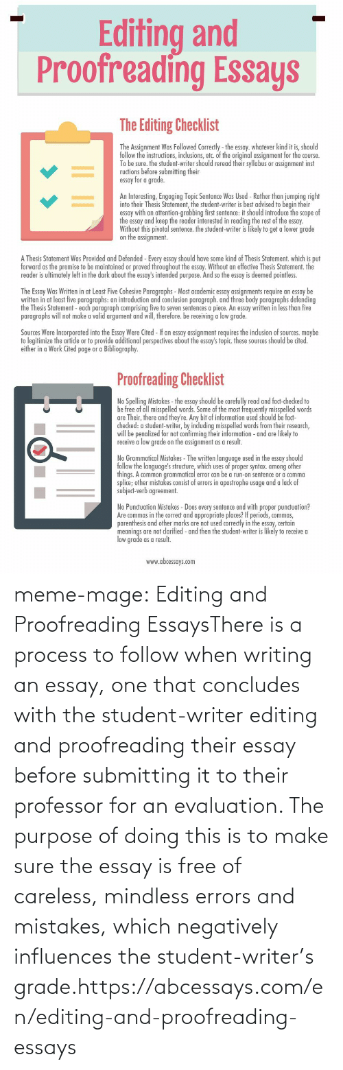 Misspelled Words: Editing and  Proofreading Essays   The Editing Checklist  The Assignment Was Followed Correctly - the essay. whatever kind it is, should  follow the instructions, inclusions, etc. of the original assignment for the course.  To be sure. the student-writer should reread their syllabus or assignment inst  ructions before submitting their  essay for a grade.  An Interesting, Engaging Topic Sentence Was Used - Rather than jumping right  into their Thesis Statement, the student-writer is best advised to begin their  essay with an attention-grabbing first sentence: it should introduce the scope of  the essay and keep the reader interested in reading the rest of the essay.  Without this pivotal sentence. the student-writer is likely to get a lower grade  on the assignment.  A Thesis Statement Was Provided and Defended -Every essay should have some kind of Thesis Statement. which is put  forward as the premise to be maintained or proved throughout the essay. Without an effective Thesis Statement. the  reader is ultimately left in the dark about the essay's intended purpose. And so the essay is deemed pointless.  The Essay Was Written in at Least Five Cohesive Paragraphs - Most academic essay assignments require an essay be  written in at least five paragraphs: an introduction and conclusion paragraph. and three body paragraphs defending  the Thesis Statement - each paragraph comprising five to seven sentences a piece. An essay written in less than five  paragraphs will not make a valid argument and will, therefore. be receiving a low grade.  Sources Were Incorporated into the Essay Were Cited - If an essay assignment requires the inclusion of sources. maybe  to legitimize the artide or to provide additional perspectives about the essay's topic. these sources should be cited.  either in a Work Cited page or a Bibliography.   Proofreading Checklist  No Spelling Mistakes - the essay should be carefully read and fact-checked to  be free of all misspelled words.