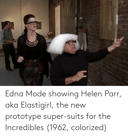 edna mode: Edna Mode showing Helen Parr, aka Elastigirl, the new prototype super-suits for the Incredibles (1962, colorized)