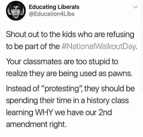 "Memes, History, and Kids: Educating Liberals  @Education4Libs  Shout out to the kids who are refusing  to be part of the #NationalWalkoutDay.  Your classmates are too stupid to  realize they are being used as pawns.  Instead of ""protesting"" they should be  spending their time in a history class  learning WHY we have our 2nd  amendment right."