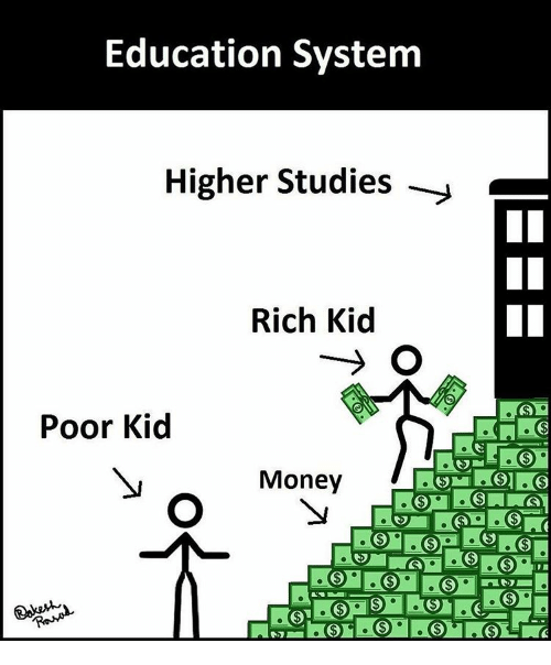 Rich Kid: Education System  Higher Studies  Rich Kid  Poor Kid  Money
