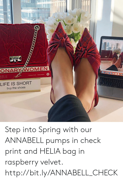 pumps: EELS  LIFE IS SHORT  buy the shoes Step into Spring with our ANNABELL pumps in check print and HELIA bag in raspberry velvet. http://bit.ly/ANNABELL_CHECK
