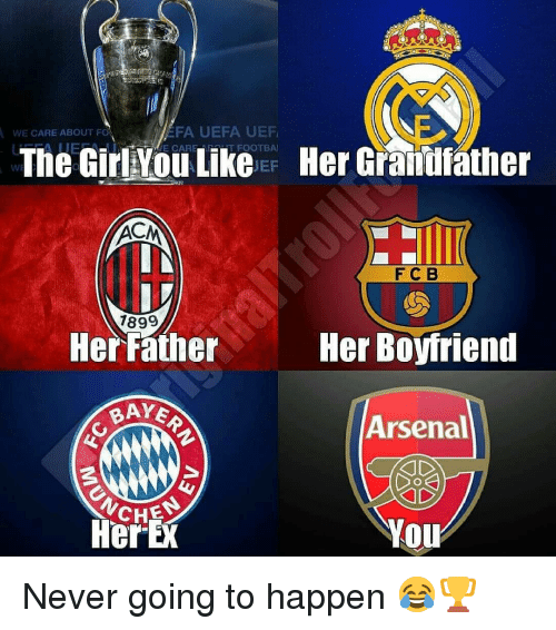 uefa: EFA UEFA UEF  E CAREMHT FOOTBA  WE CARE ABOUT F  The GirlYou Like  Her Grandfather  WE  EF  FC B  1899  Her Father  Her Boyfriend  BAYE  Arsenal  CHES  HerE  YOu Never going to happen 😂🏆