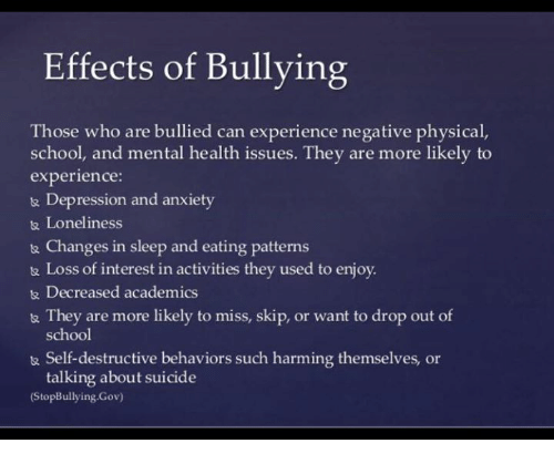 negative effects of bullying