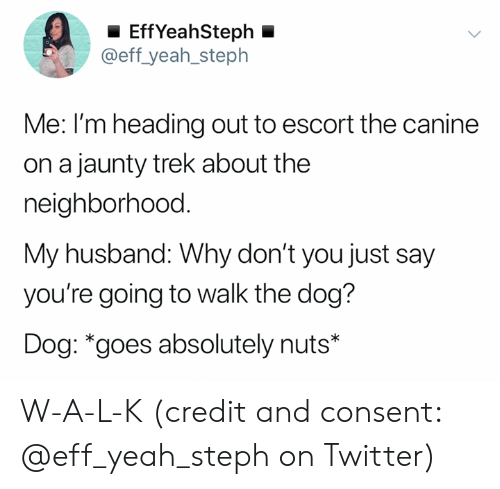 Steph: EffYeahSteph  @eff_yeah_steph  Me: I'm heading out to escort the canine  on a jaunty trek about the  neighborhood.  My husband: Why don't you just say  you're going to walk the dog?  Dog: *goes absolutely nuts* W-A-L-K (credit and consent: @eff_yeah_steph on Twitter)