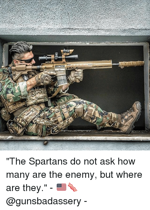 "Memes, 🤖, and How: Eg6 ""The Spartans do not ask how many are the enemy, but where are they."" - 🇺🇸🥓@gunsbadassery -"