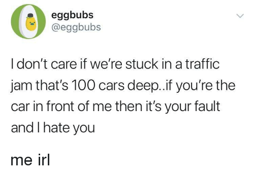 traffic jam: eggbubs  @eggbubs  I don't care if we're stuck in a traffic  jam that's 100 cars deep..if you're the  car in front of me then it's your fault  and I hate you me irl