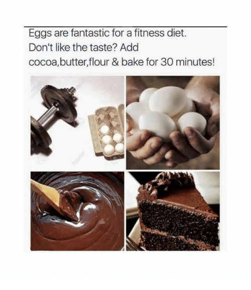 Dank, Diet, and Fitness: Eggs are fantastic for a fitness diet.  Don't like the taste? Add  cocoa,butter,flour & bake for 30 minutes!