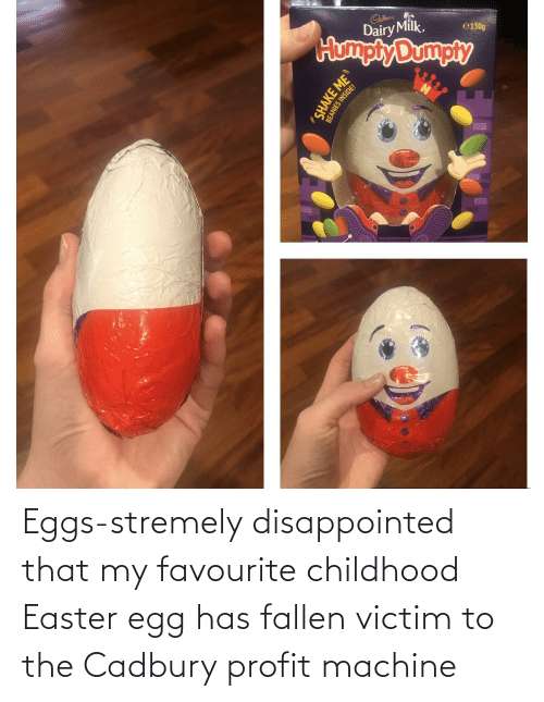 eggs: Eggs-stremely disappointed that my favourite childhood Easter egg has fallen victim to the Cadbury profit machine