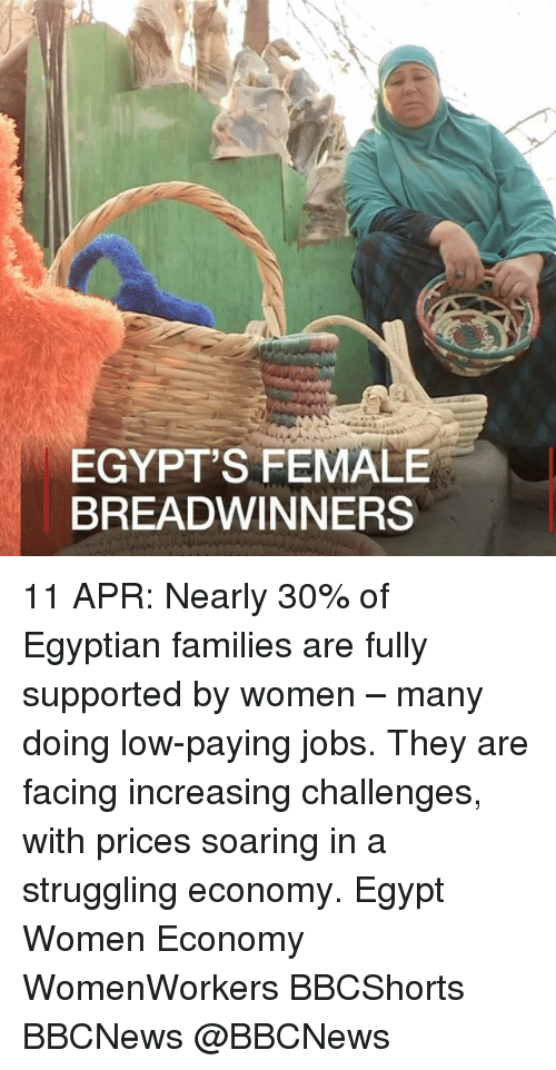 Memes, Jobs, and Women: EGYPT'S FEMALE  BREADWINNERS 11 APR: Nearly 30% of Egyptian families are fully supported by women – many doing low-paying jobs. They are facing increasing challenges, with prices soaring in a struggling economy. Egypt Women Economy WomenWorkers BBCShorts BBCNews @BBCNews