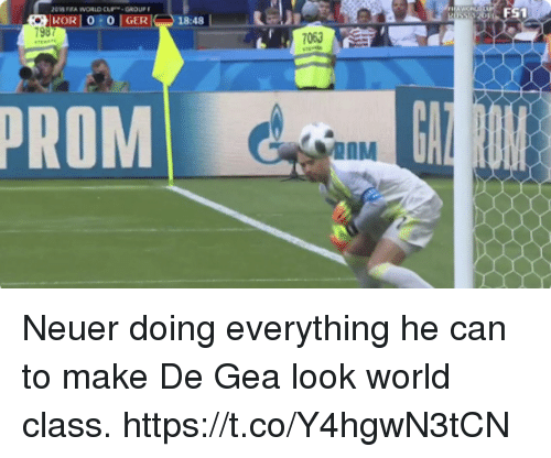 Memes, World, and 🤖: Ei  S1  I KORI 010 I GERI  798  18:48 |  063  PROM  AAM Neuer doing everything he can to make De Gea look world class. https://t.co/Y4hgwN3tCN