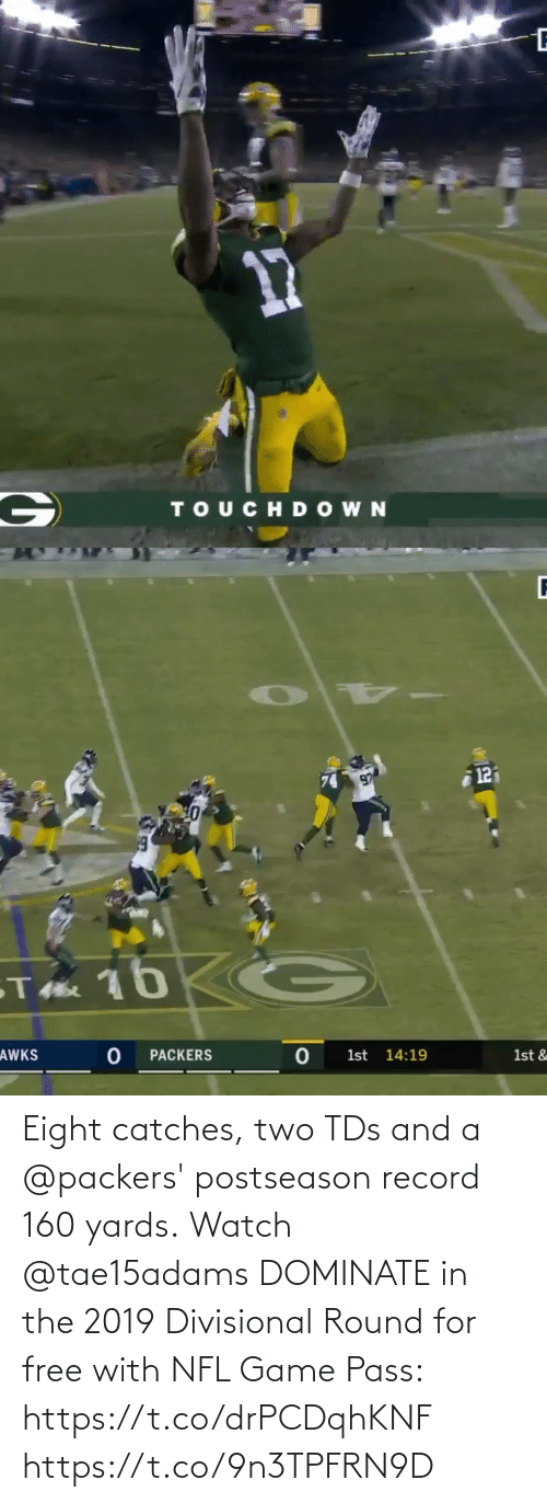pass: Eight catches, two TDs and a @packers' postseason record 160 yards.  Watch @tae15adams DOMINATE in the 2019 Divisional Round for free with NFL Game Pass: https://t.co/drPCDqhKNF https://t.co/9n3TPFRN9D
