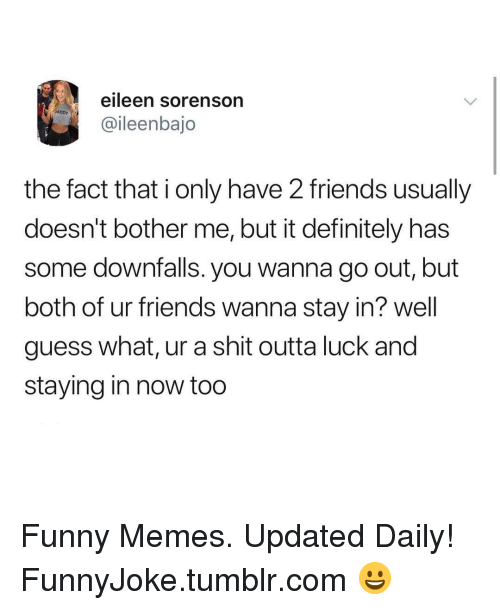 Eileen: eileen sorenson  ADDY  @ileenbajo  the fact that i only have 2 friends usually  doesn't bother me, but it definitely has  some downfalls. you wanna go out, but  both of ur friends wanna stay in? well  guess what, ur a shit outta luck and  staying in now too Funny Memes. Updated Daily! ⇢ FunnyJoke.tumblr.com 😀