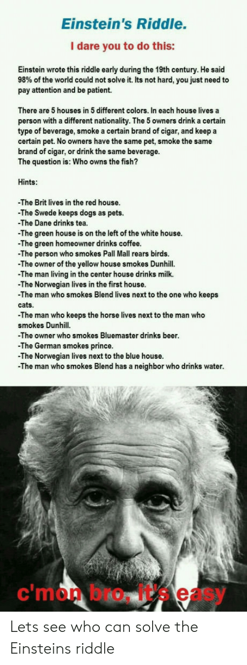 swede: Einstein's Riddle.  I dare you to do this:  Einstein wrote this riddle early during the 19th century. He said  98% of the world could not solve it. Its not hard, you just need to  pay attention and be patient.  There are 5 houses in 5 different colors. In each house lives a  person with a different nationality. The 5 owners drink a certain  type of beverage, smoke a certain brand of cigar, and keep a  certain pet. No owners have the same pet, smoke the same  brand of cigar, or drink the same beverage.  The question is: Who owns the fish?  Hints:  The Brit lives in the red house.  -The Swede keeps dogs as pets.  The Dane drinks tea  The green house is on the left of the white house.  -The green homeowner drinks coffee  The person who smokes Pall Mall rears birds  -The owner of the yellow house smokes Dunhill.  The man living in the center house drinks milk.  -The Norwegian lives in the first house  -The man who smokes Blend lives next to the one who keeps  cats.  The man who keeps the horse lives next to the man who  smokes Dunhill  -The owner who smokes Bluemaster drinks beer  The German smokes prince.  -The Norwegian lives next to the blue house  -The man who smokes Blend has a neighbor who drinks water  c'mon bro, it's easy Lets see who can solve the Einsteins riddle
