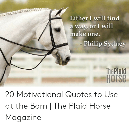 Philip: Either I will find  a way, or I will  make one.  Philip Sydney  The Plaid  Horse 20 Motivational Quotes to Use at the Barn | The Plaid Horse Magazine