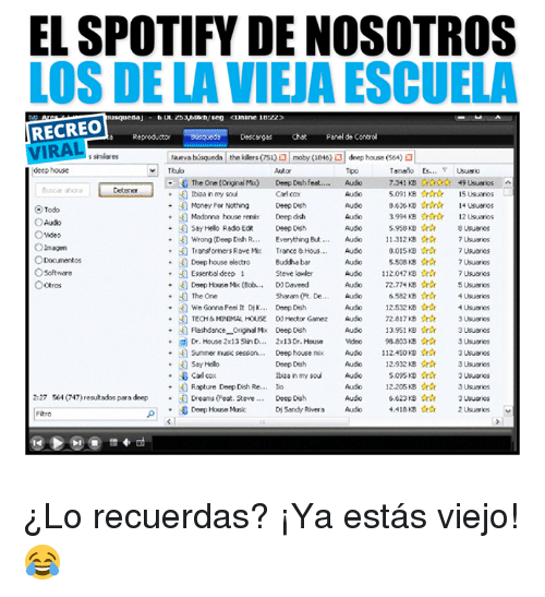 hous: EL SPOTIFY DE NOSOTROS  LOS DE LA VIEJA ESCUELA  RECREO  VIRAL  e Reproductor Busqueds Descergas Chst Panel de Control  nueva bisa eda | the klers (751  roby (1846) al deep house (564  s simiares  deep house  Tpo  B④ The One (Orignal Mu)  Ibiza in my sou  ·困Money For Nothing  +園Madorna house remix  7.341 KB Creos 49Usuns  5091 KB★☆★  3636 KB☆☆☆  3994 KB☆☆☆  Deep Desh feat.  Audo  ^  Busca ohora  Detener  Carl cox  0tep Osh  Deep doh  15 UsuanosL  14 Usuanos  12Usuros  O Todo  Deeph  Say helo Redo Ed  +4] wrong(Deep Dish R  +4] Transformers Rove nx  11.312KB ☆☆  aasB ☆☆  5508 KB ☆☆  Everything ht  Trance & Hous  Audo  Audo  7Usuns  7Ususes  7Usuanos  Deep house electro Buddha bar  O software  112.047KB☆☆  Steve lwler  D, Deveed  Sharon (R. De  Audio  7Usuarios  Audo 22.774 KB ☆☆ 5Uusros  6582 KB ☆☆ 4Usuros  Audo 12.532 KB ☆☆ 4Usuns  TECH& MINDMAL HOUSE D) Hector Gamez Audo72.817KB3 Ususrios  13.951 KB ☆☆ 3usuarios  +gl Dr.House 2x13SnD 2x 13 Dr. House Weo 98.803KB ☆☆ 3Usuns  ·A] Sumener tuse sesson. . . Deep house mix Audio 112.450 KBOr☆ 3usuuos  12.932 kB ☆ 3Uuns  Essertal deco 1  H) Deep Horse Mic (Bob  Audo  + The One  +We Gonna Feel t Dik.. Deep Dish  Flashdance_ OriginMx Deep Dich  13.951 KB Ortr  Deep Dish  tbiza in my sou  ibizs in my so  Audo 5095 KB  Rapture Deep Dish Re  llo  Audo 12.205 KB ☆☆ 3Uusos  2:27 564 (747) resutados paro deepDreams Fost. eve  Deep Dish  FRro  Deep House Music ¿Lo recuerdas? ¡Ya estás viejo! 😂