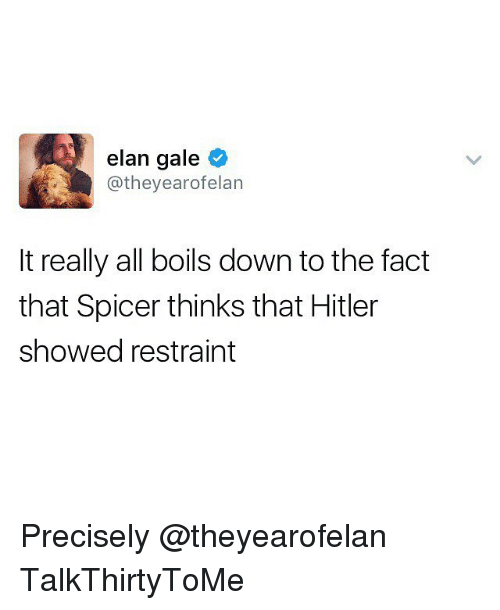 Memes, Hitler, and 🤖: elan gale  year ofelan  @they It really all boils down to the fact  that Spicer thinks that Hitler  showed restraint Precisely @theyearofelan TalkThirtyToMe