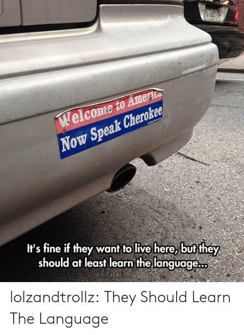its fine: elcome to Amerioa  Now Speak Cheroker  It's fine if they want to live here, but they  should at least learn the language... lolzandtrollz:  They Should Learn The Language