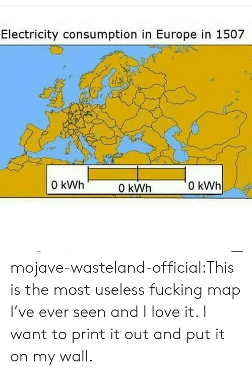 wasteland: Electricity consumption in Europe in 1507  0 kWh  0 kWh  0 kWh mojave-wasteland-official:This is the most useless fucking map I've ever seen and I love it. I want to print it out and put it on my wall.