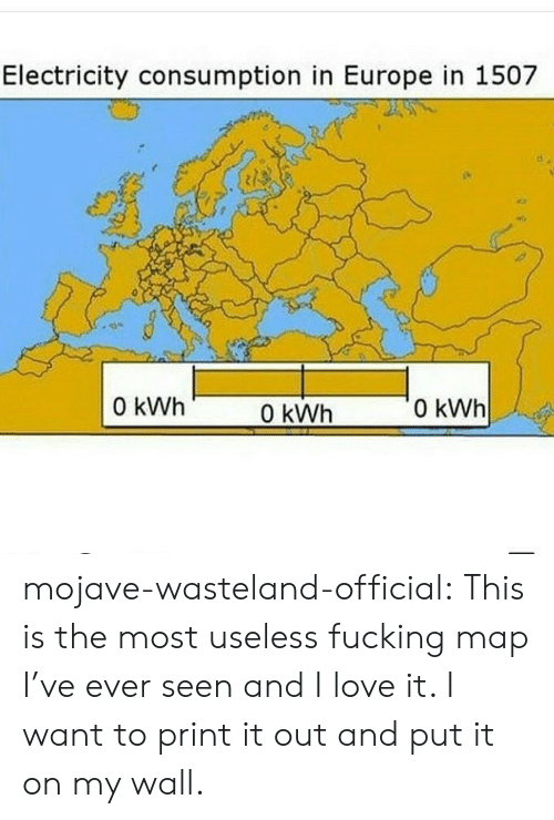 wasteland: Electricity consumption in Europe in 1507  0 kWh  0 kWh  0 kWh mojave-wasteland-official: This is the most useless fucking map I've ever seen and I love it. I want to print it out and put it on my wall.