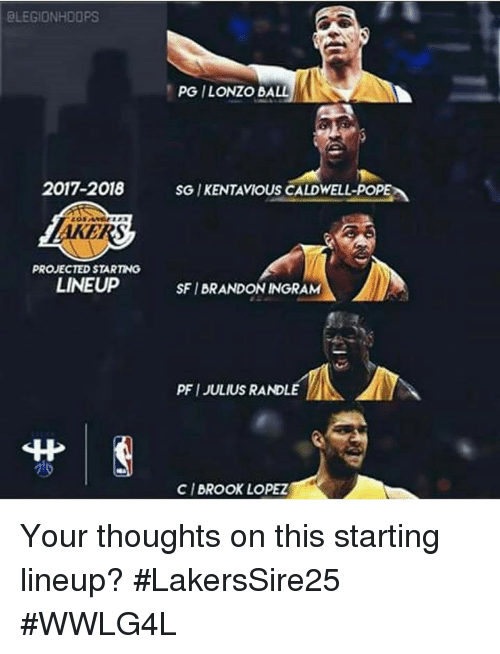 Memes, Pope Francis, and Brandon Ingram: ELEGIONHDOPS  PG ILONZO BALL  2017-2018 SG IKENTAVIOUS CALDWELL-POPE  AKERS  PROJECTED STARTING  LINEUP  SFI BRANDON INGRAM  PFI JULIUS RANDLE  丱|  CI BROOK LOPEZ Your thoughts on this starting lineup?  #LakersSire25 #WWLG4L