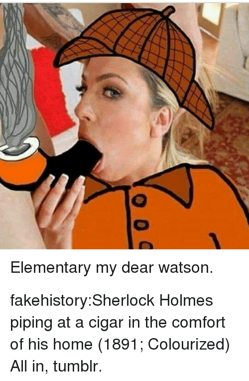 Colourized: Elementary my dear watson. fakehistory:Sherlock Holmes piping at a cigar in the comfort of his home (1891; Colourized) All in, tumblr.