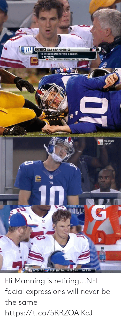 Eli Manning: Eli Manning is retiring...NFL facial expressions will never be the same https://t.co/5RRZOAIKcJ