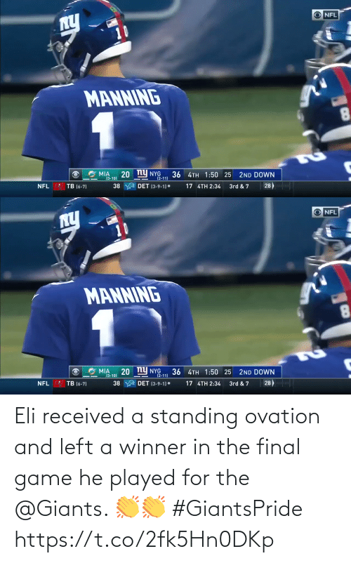 eli: Eli received a standing ovation and left a winner in the final game he played for the @Giants. 👏👏 #GiantsPride https://t.co/2fk5Hn0DKp